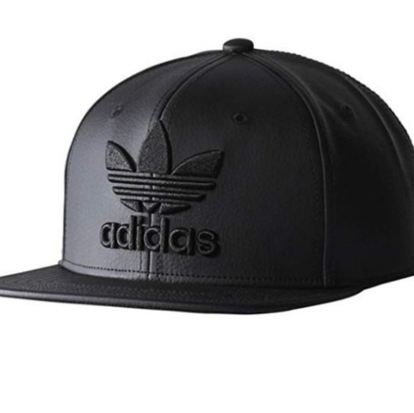 65d2be3d708 Adidas Originals Faux Leather Trefoil Hat Cap